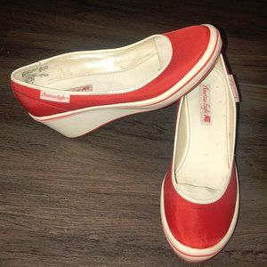 American Eagle Red And White Slip On Wedge Heels